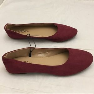 Shoes 18 Classic Round Ballet Flat Burgundy (A11)